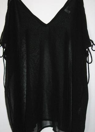 Прозрачная блуза-туника с открытыми плечами