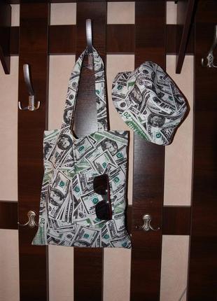 Двухсторонняя женская панама ,денежная панама ,панама  доллар $