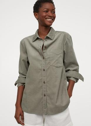 Вельветовая рубашка h&m р.м