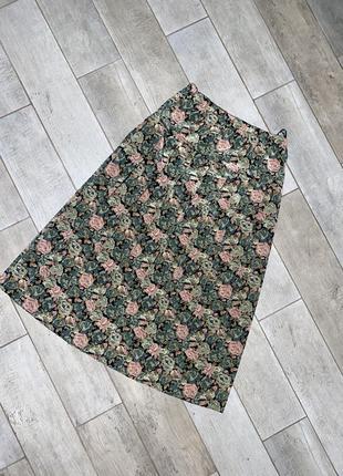 Зелёная миди юбка,цветочный принт,складки,плиссе (1)