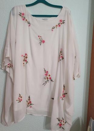 Блуза с вышивкой батал оверсайс