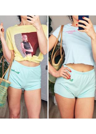 Женские трикотажные шорты короткие пляжные шорты для сна высокая талия посадка мятные