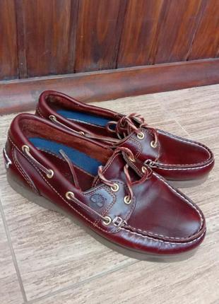 Кожаные туфли топсайдеры мокасины timberland classic boat
