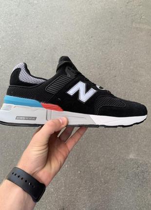Стильные мужские кроссовки new balance 997 чёрные в сеточку