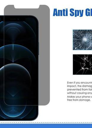 Защитное стекло на айфон 11 затемнённое защита экрана от подглядывания4 фото