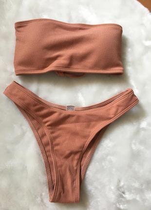 Новый купальник коричневый в рубчик топ на завязках трусики бразилиано