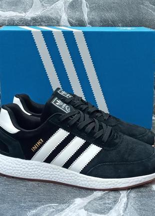 Женские кроссовки adidas iniki чёрные, замшевые