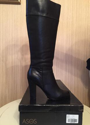 Классические кожаные высокие сапоги asos 39.5-40