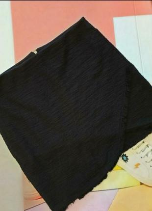 Стильная чёрная юбка женская xs, s 34, 36