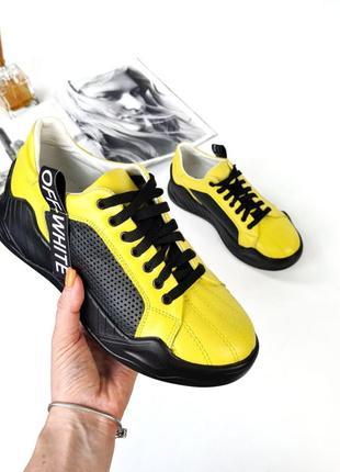 Рр 36-40.женские демисезонные кроссовки жёлтые чёрные из натуральной кожи