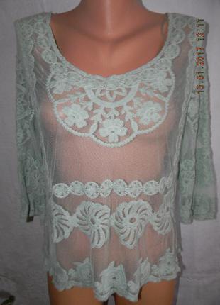 Мятная кружевная новая блуза apricot