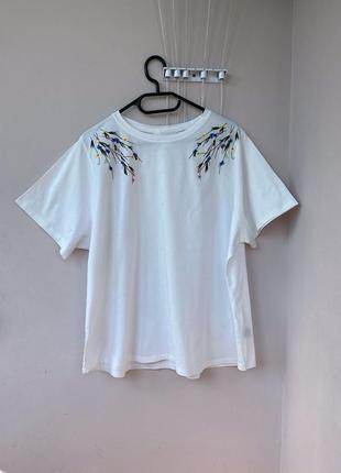 Новая футболка с вышивкой большого батального размера батал