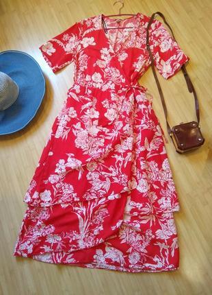 Платье на запах миди макси халат цветы растения птицы