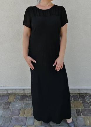 Чорна вечірня сукня з вишивкою