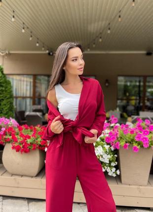 Брючный костюм женский батал со штанами рубашка летний легкий