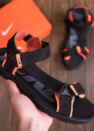 Мужские кожаные сандалии nike track black