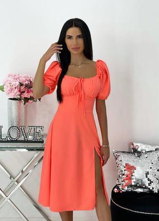 Платье женское нарядное летнее легкое миди длинное свободное коралл оранжевое