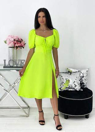 Платье женское нарядное летнее легкое миди длинное свободное салатовое