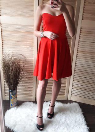 Сексуальное красное вечернее платье бюстье до колен размер s m