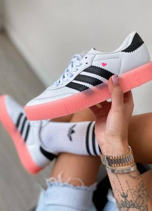 Женские кроссовки adidas samba white rose