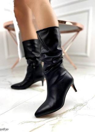 Сапоги ботинки эко-кожа черный