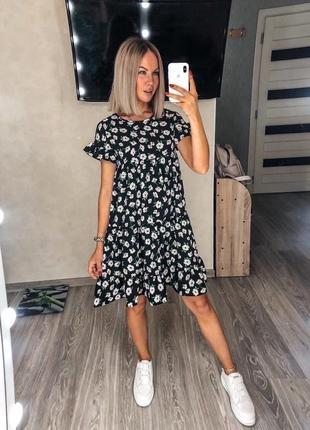 Платье женское нарядное летнее легкое мини короткое свободное оверсайз черный