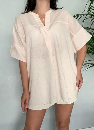 Льняная блуза туника оверсайз m&s