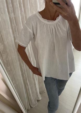 Блуза рубашка белая хлопковая оверсайз