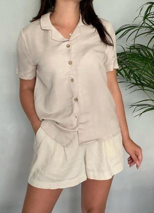 Льняная рубашка с деревянными пуговицами mango