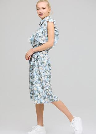 Платье цветочный принт миди