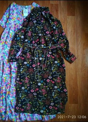 Актуальное миди платье рубашка в цветочный принт м поясом