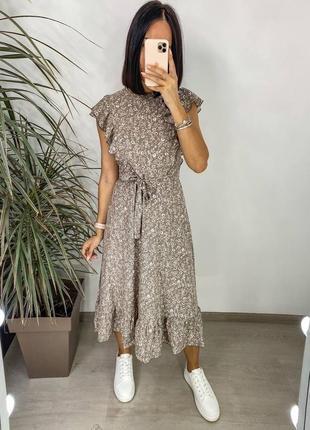 Платье женское нарядное летнее легкое миди длинное свободное с поясом бежевое1 фото