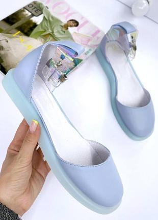 Натуральная кожа, шикарные женские голубые балетки kristi
