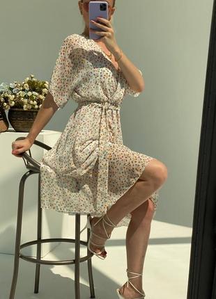 Нежное , воздушное летнее платье , талия на резинке , тканевый поясок в комплекте 🤩