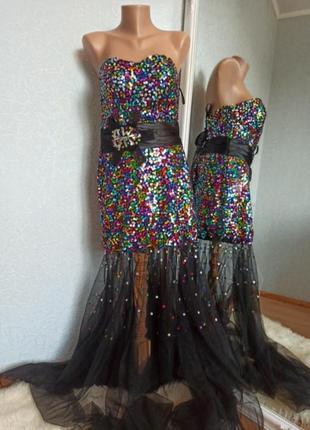 Платье вечернее пайетка шикарное прозрачное