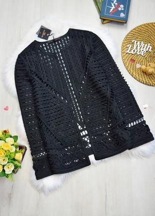 Жакет пиджак ажурный вязаный чёрный шикарный оригинальный