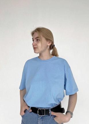 Базовая однотонная футболка хлопок оверсайз голубая белая серая зеленая