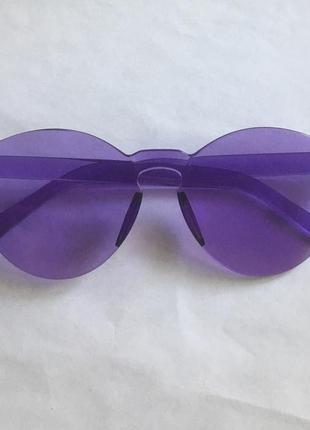 Фиолетовые круглые очки без оправы