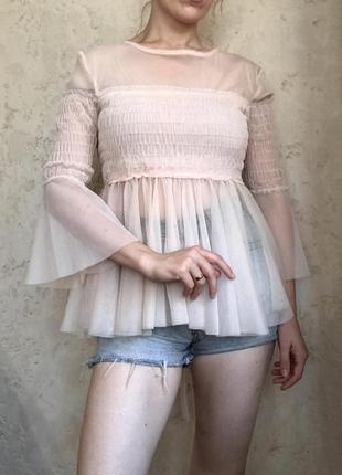 Блузка топ из фитина с резинкой на груди с жаткой на груди прозрачный с широкими рукавами розовый пу