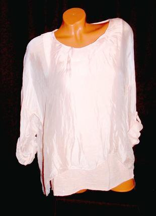 Шикарная блуза пудрового цвета шёлк - от m до xxl