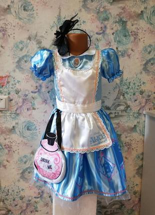 Платье алисы из мф алиса в стране чудес, карнавальный костюм