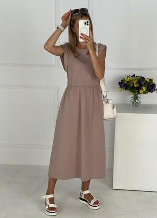Платье летнее женское легкое свободное миди длинное оверсайз батал бежевое