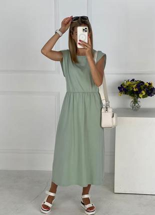 Платье летнее женское легкое свободное миди длинное оверсайз батал зеленое