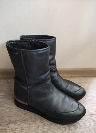 Сапоги на меху кожаные женские чоботи жіночі на хутоу угги