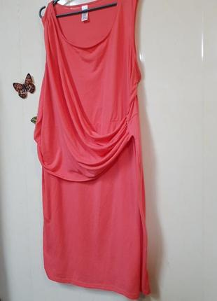 Платье,караловое,трикотаж,большой размер