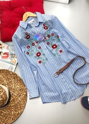 Платье рубашка оверсайз с вышивкой 🔥missguided🔥 лёгкая удлиненная рубашка в полоску