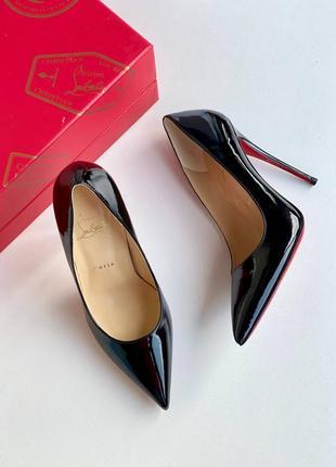 Туфли-лодочки чёрные, с красной подошвой. премиум.