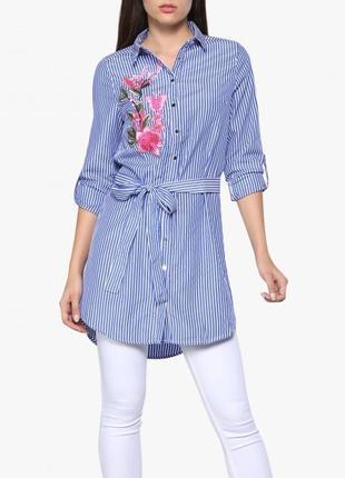 Платье рубашка в полоску. платье с вышивкой xl/xxl