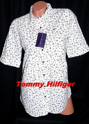Tommy hilfiger шикарная брендовая рубашка - s - m