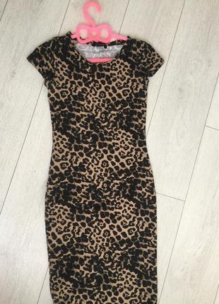 Платье трикотаж в тигровый принт